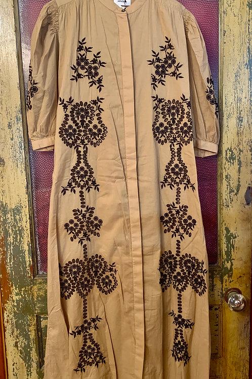 Ottod'Ame Khaki Dress with Black Eyelet Detail