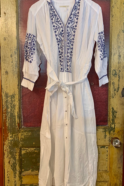 Ne Quittez Pas White Dress with Blue