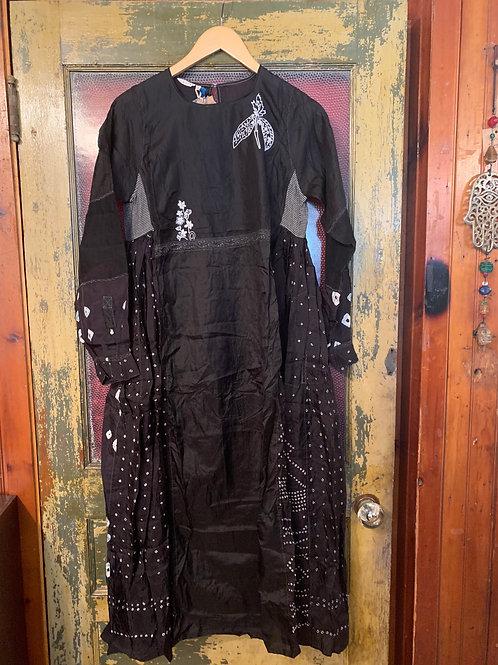 Injiri Black Silk Dress