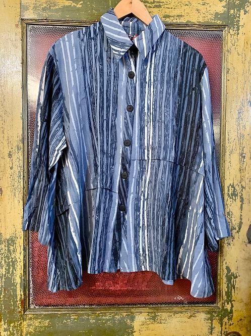 Dress To Kill Blue Stripe Drape Shirt