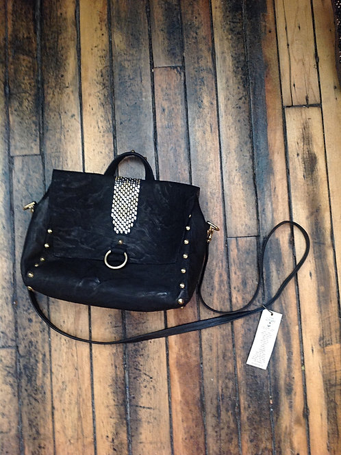 Calleen Cordero Leather Shoulder Bag with Brass and Silver Stud Detailing