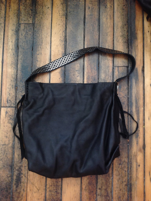 Calleen Cordero Black Leather Shoulder Bag with Shoulder Strap Detail