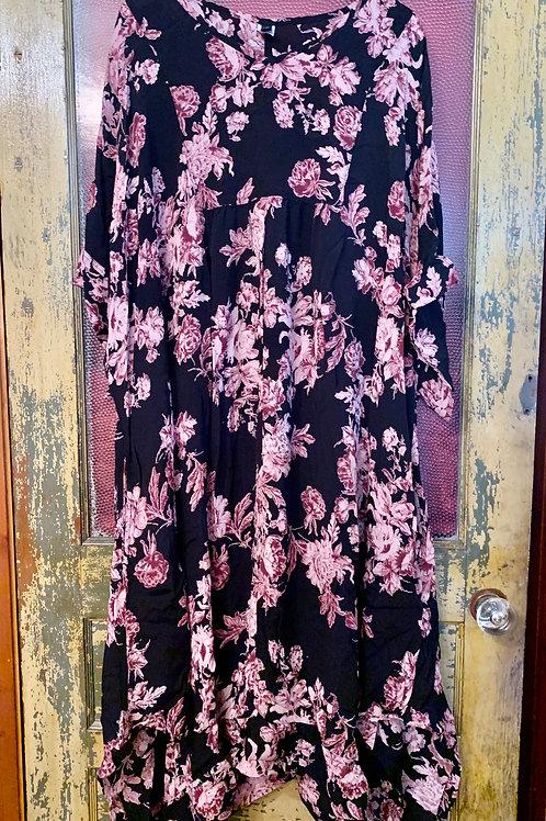 Dress To Kill Black Pink Floral Kaftan