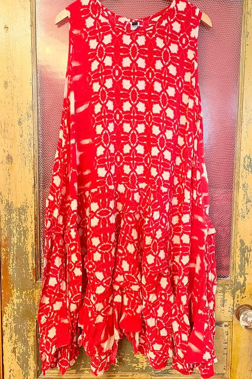 Dress To Kill Red Hand Batiked Tuck Dress