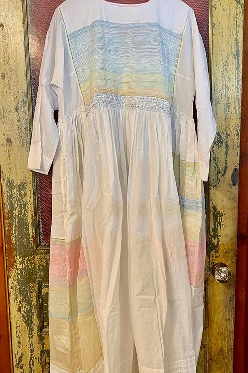 Injiri White Dress with Pink/Blue/Yellow Threading