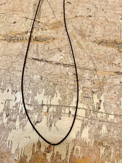 Feathered ShouldYellow Gold Charm Diamond Cross