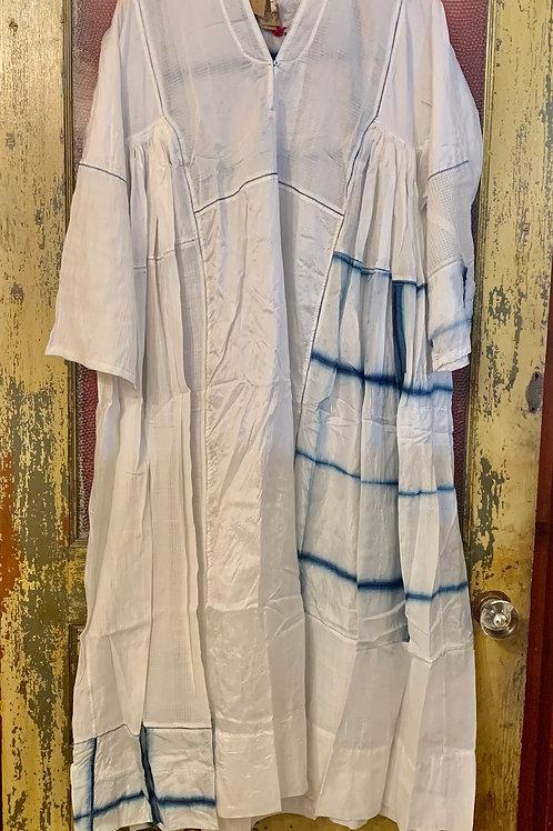 Injiri Dress - White/Blue V Neck