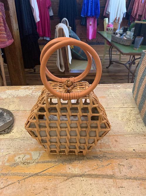 Aranaz Straw Hera Tote w/ leather handles