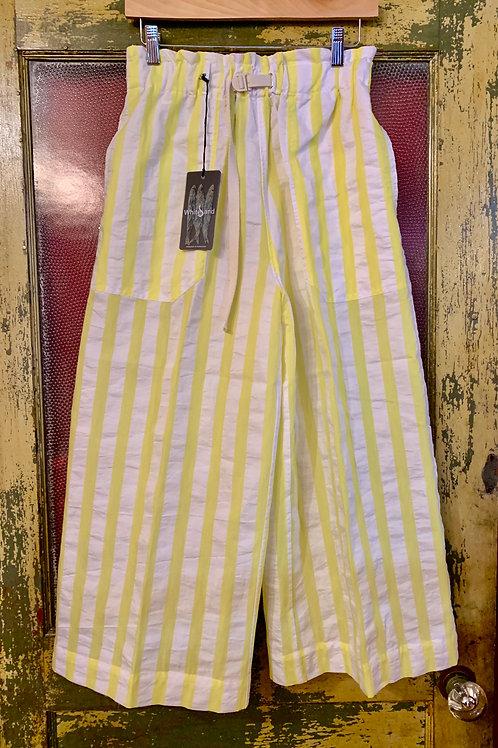 White Sand Stripe Wide Leg Trouser