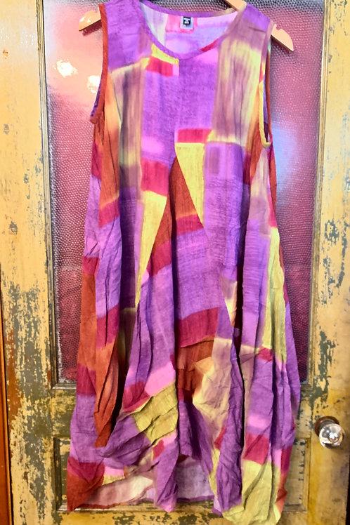 Dress To kill Purple Color Block Tuck Dress