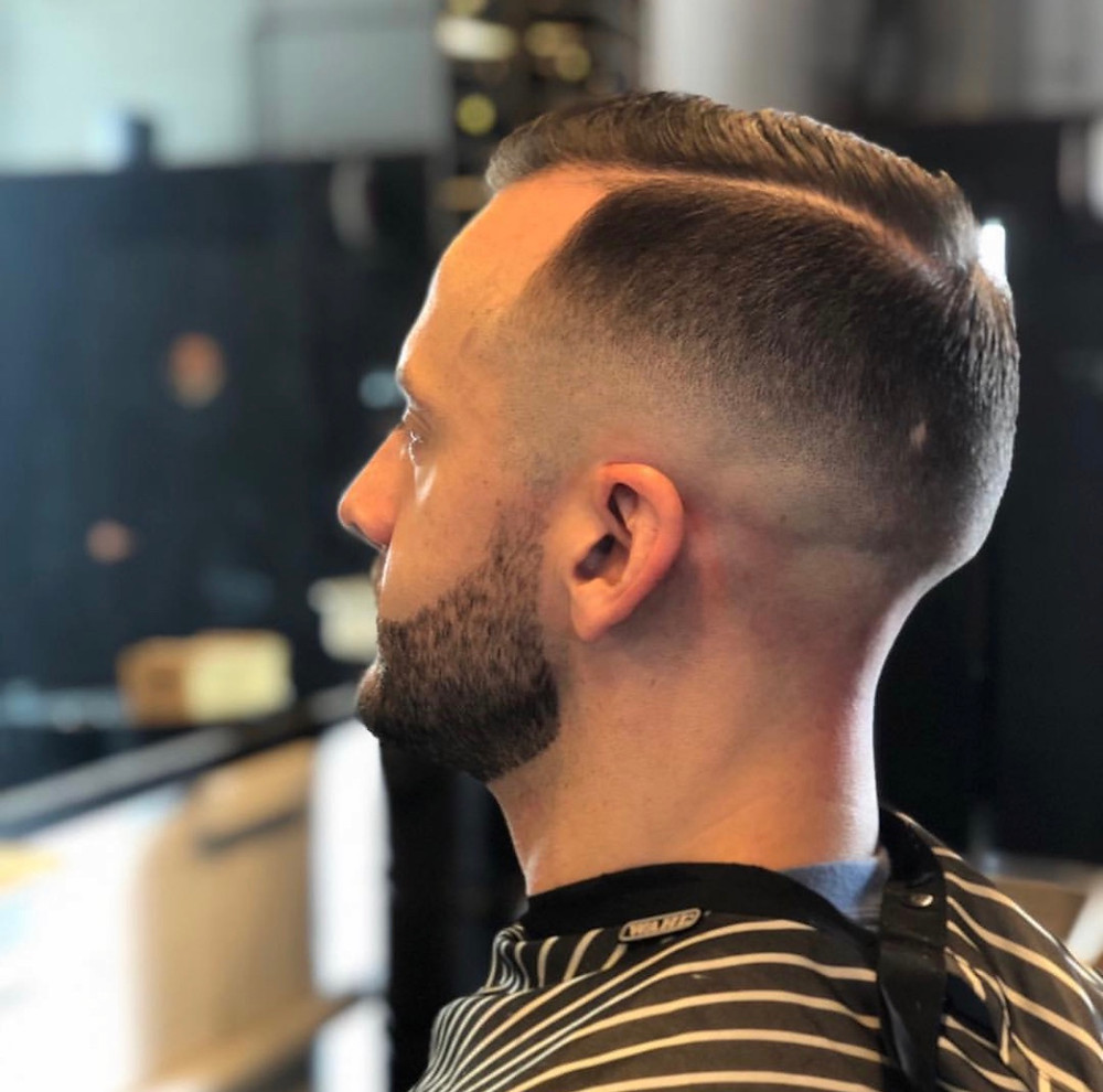 Men's Zero Fade Side Part haircut by Mobile Barber Shop Depot