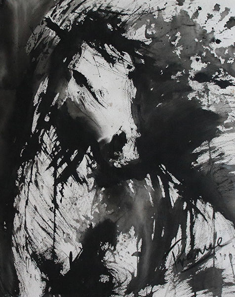 Expressionist abestract black and white painting of horse