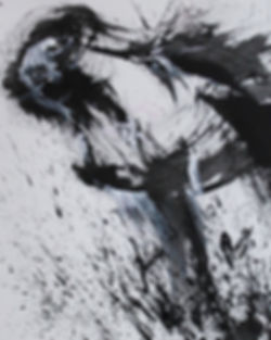 Black and white abstract painting of a horse looking up