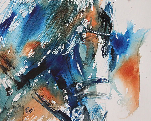Expressionist painting of a blue horse in bridle