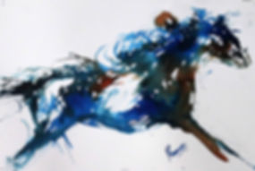 Expressionistic fingerpainting of horse and rider in blue and sienna by Prameesha Abeysekera