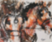 Mixed Media painting of a horse driving carraige team.