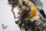 Take Off is an expressionistic fingerpainting with ink in yellow, brown and black of a horse taking a jump witha rider out of frame.
