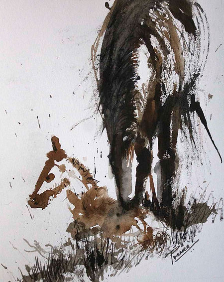 Mommy Kisses- A mare sniffing her seated foal. A black and brown ink painting. Exxpressionistic