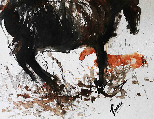 Shielding Her Baby is an expressionistic fingerpainting of  black mare protecting her foal by Prameesha Abeysekera