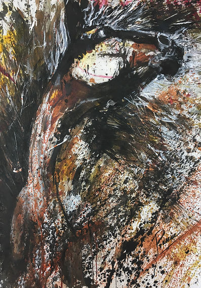 Expressionist painting of horse with inks