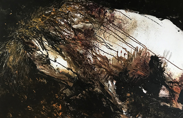 Contemporary expressionist finger-painting of a white and gold horse against a black and copper background. Landscape format painting created with ink splatter and finger painting techniques on yupo.