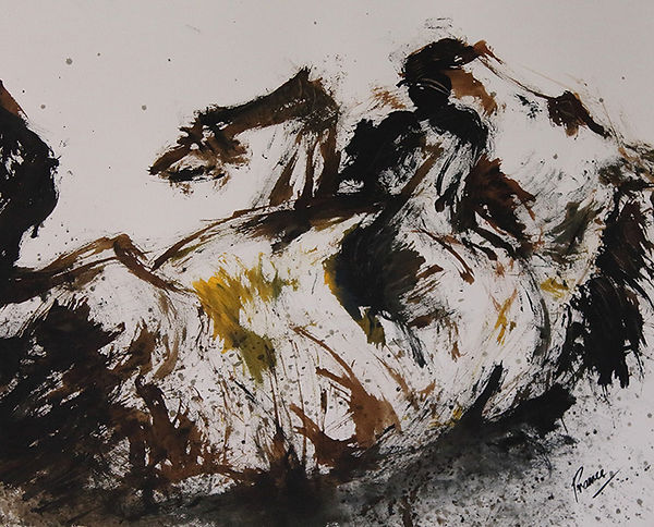 Expressionist abstract painting of horse rolling