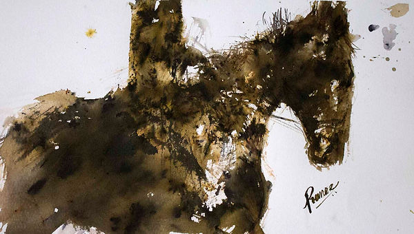 Gold and brown fingerpainting of horse and rider in abstract by Prameesha Abeysekera