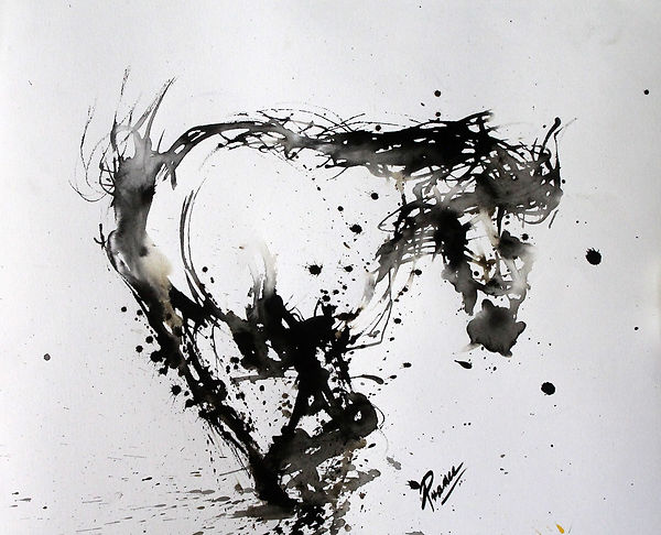 Suspended In Time- black and white fingepainting of a horse in mid movement