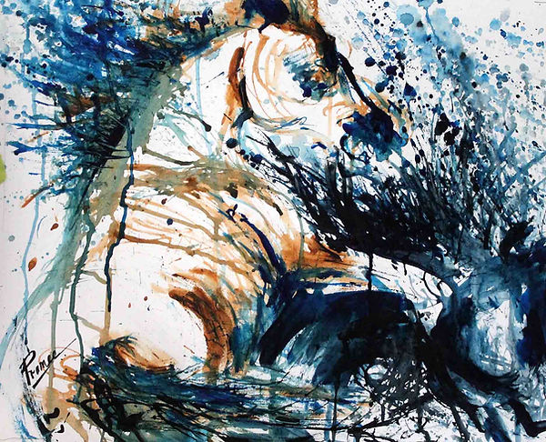 Expressionistic/ abstract fingerpainting with watercolor and inks of horses in blue ad sienna by Prameesha Abeysekera