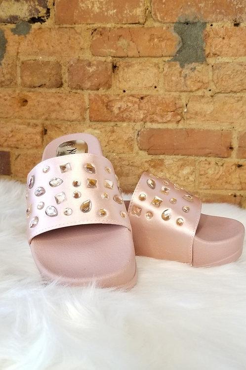 Pink Rhinestone Open Toe Platform Mule Sandal
