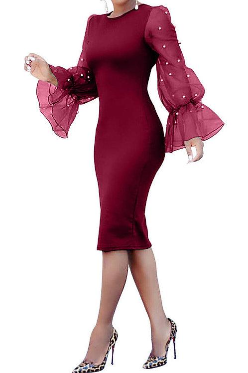 Trumpet Sleeve Stitching Midi Dress