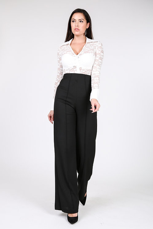 SEAMED WIDE LEG PALAZZON PANTS
