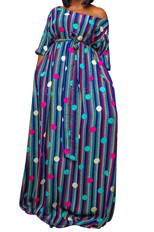 Blue Printed Round Neck Belt Maxi Dress