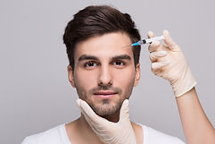 Filler forehead injection for male face