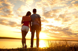 Sunrise_sunset_Couple_love_Sky_Men_Jeans_Shorts_Clouds_Nature_Girl_reflection_mo
