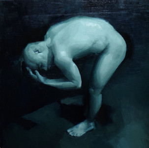 'Guard', 2018, Oil on Board, 40 x 40 cm.