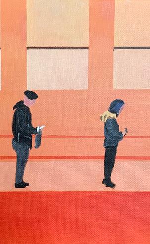 'Queuing' Social Distancing 8, 42 x 52 cm, Acrylic on Canvas, £375