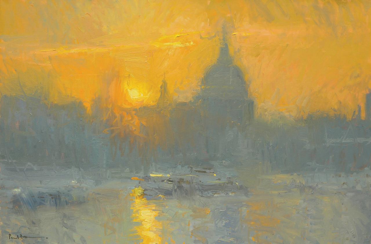 "No.2. Sunrise St. Paul's from Waterloo Bridge 20""x30"" oil on canvas £5,500"