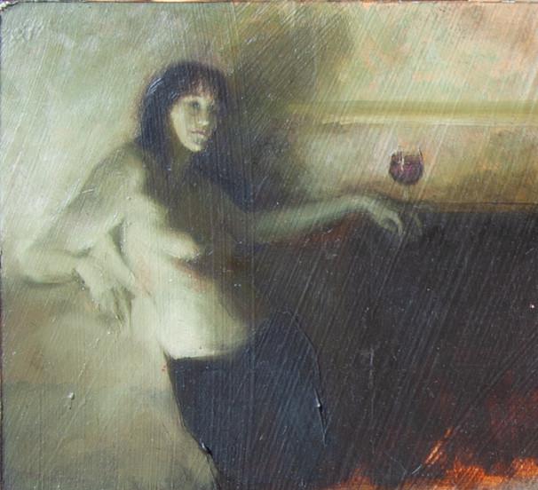 'Bacchus I', 2018, Oil on Board, 7 x 10