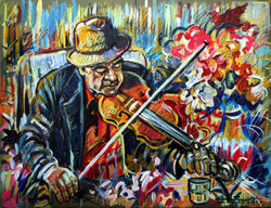 Fiddler With Flowers