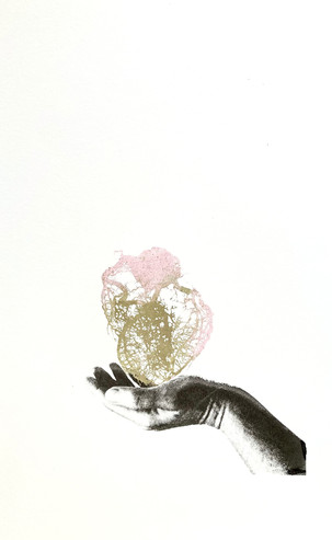 Heart in Hand, 60 x 80 cm, 24 Carat gold leave and ink on paper, £800