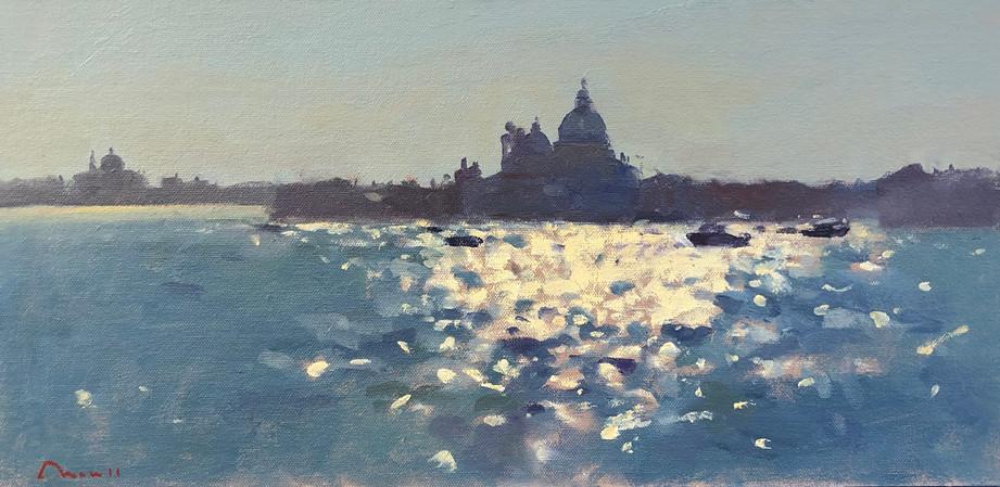 """Into the sun, Venice Oil, 10""""x20"""" £1,600"""