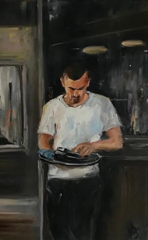 The Waiter, oil on canvas, 50 x 40 cm, £1,260