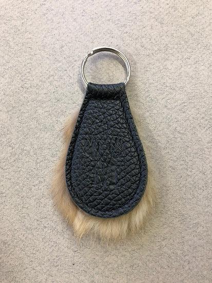 01-Porte-clé cuir et fourrure recyclé