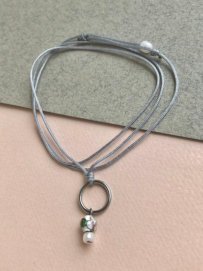 Collier/Bracelet Nylon Bille blanche