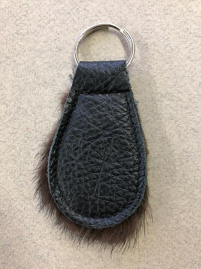 06-Porte-clé cuir et fourrure recyclé