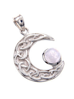 Celtic Moon with Moonstone Pendant