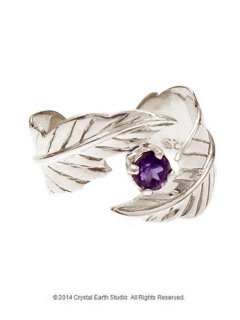 Feather Amethyst Ring