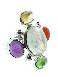 4 Directions Gemstone Ring