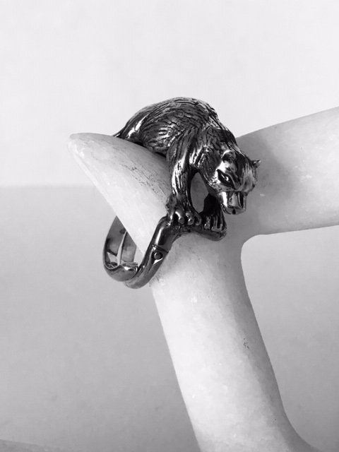 Sterling Silver Bear Adjustable Ring